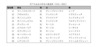 丹下日出夫の昨年の推奨馬(11-20位)