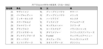 丹下日出夫の昨年の推奨馬(21位-30位)